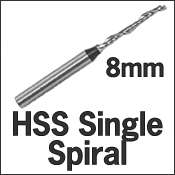 HSS Single Spiral 8mm